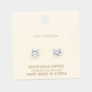 White Gold Dipped 6mm Cubic Zirconia Round Stud Ea